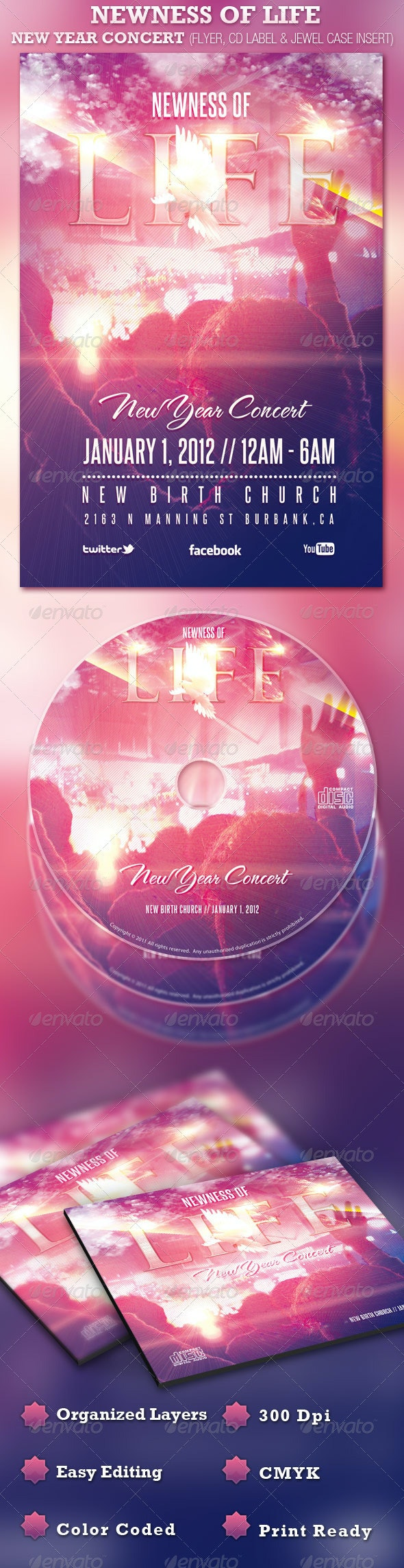 Newness of Life Concert Flyer and CD  - Church Flyers