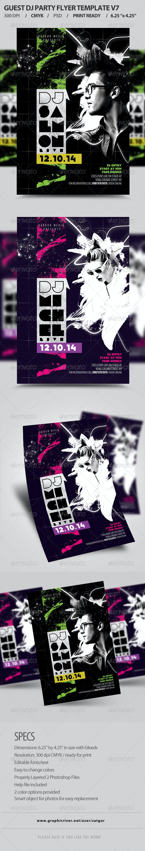 Guest DJ Party Flyer Template PSD V7 - Clubs & Parties Events