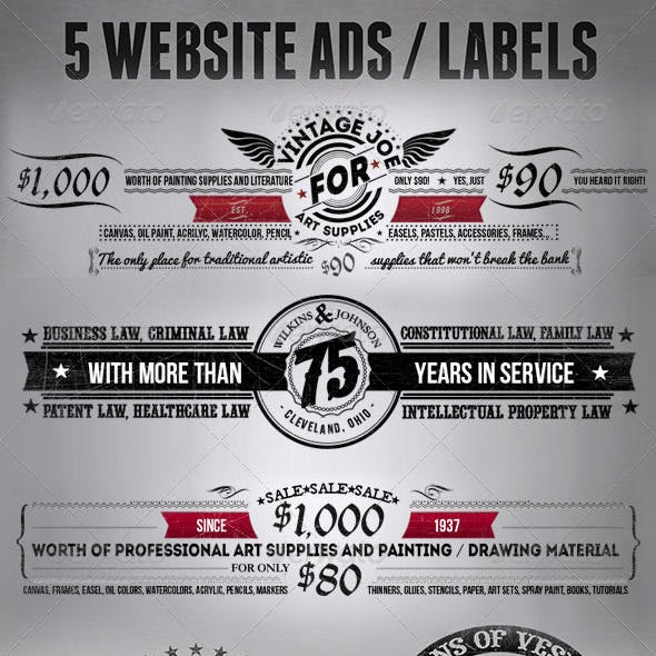 5 Vintage Ad or Label Designs