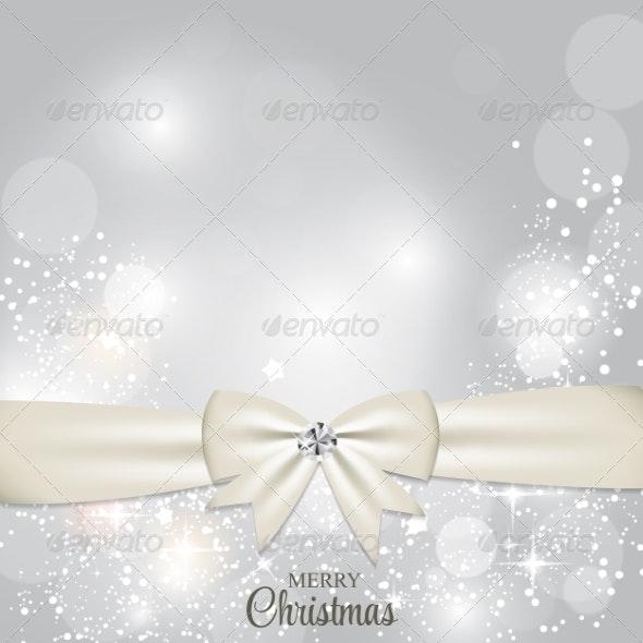 Christmas Glossy Star Background with Ribbon Vector - Christmas Seasons/Holidays