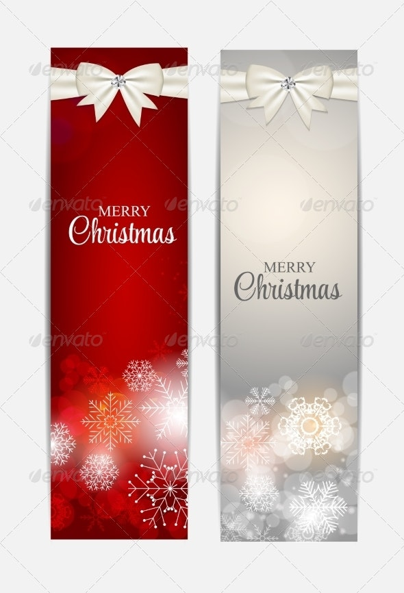 Christmas Snowflakes Website Header and Banner Set - Christmas Seasons/Holidays