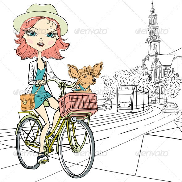 Vector cute girl with dog on the bike in Amsterdam - People Characters