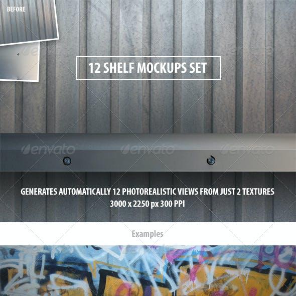 12 Shelf Mockups Set