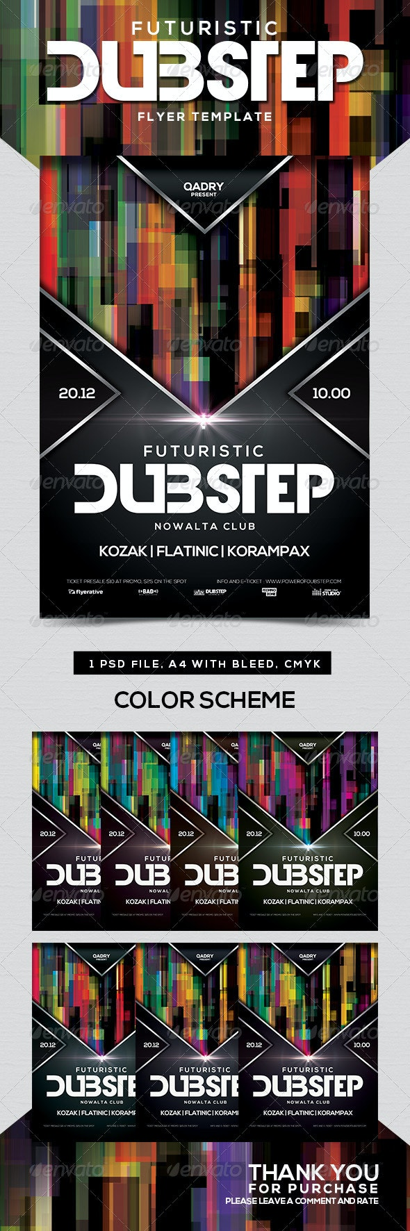 Futuristic Dubstep Flyer Template - Clubs & Parties Events