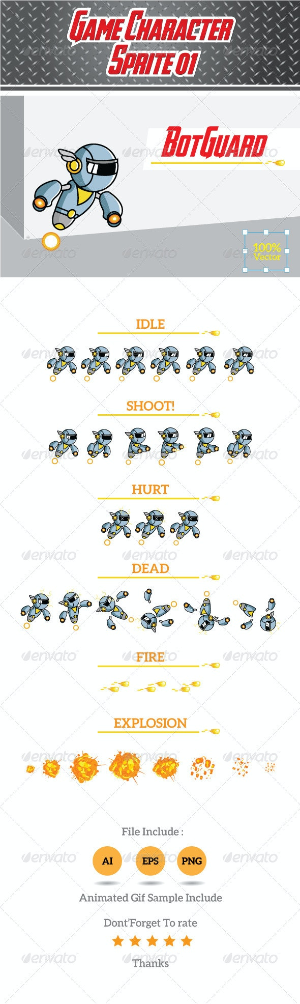 Game Character Sprite 01- BotGuard - Sprites Game Assets