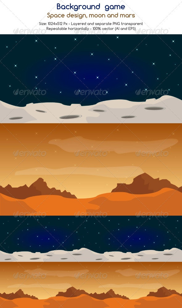 Game Assets Space - Backgrounds Game Assets