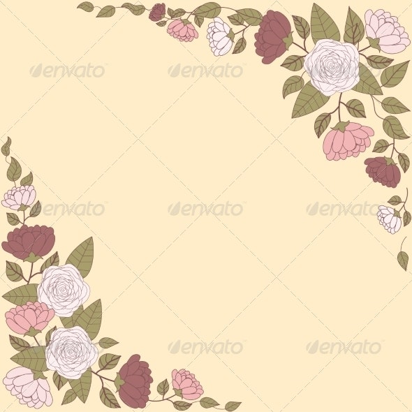 Floral Card with Abstract Flowers - Flowers & Plants Nature
