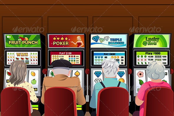 Senior People Playing Slot Machines in the Casino - People Characters