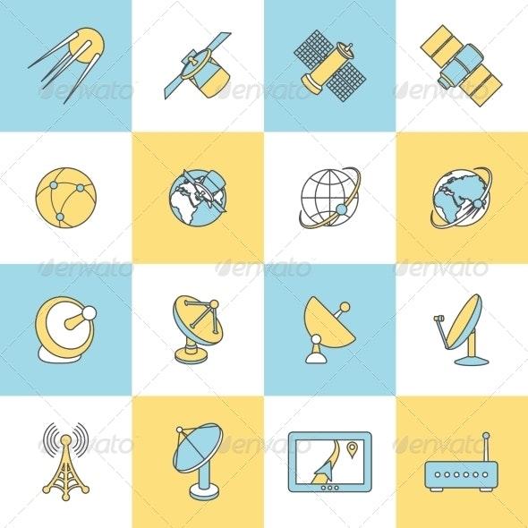 Satellite Flat Line Icons - Technology Icons