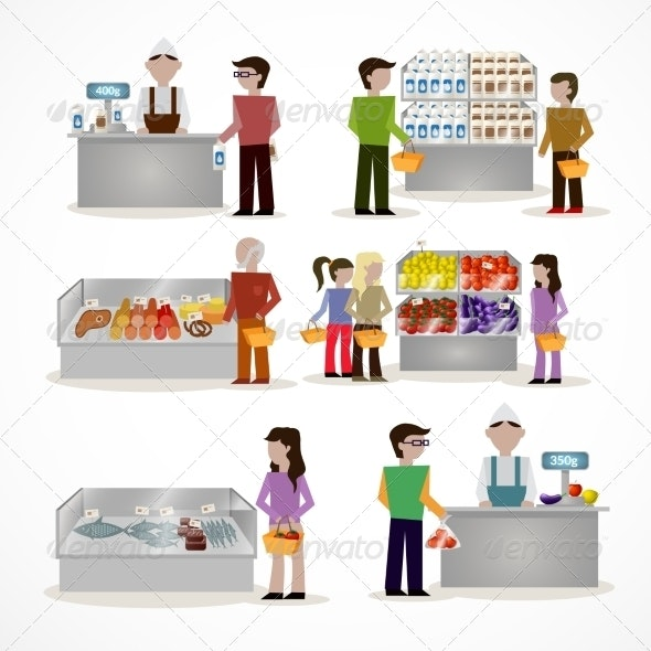 People in Supermarket - Retail Commercial / Shopping