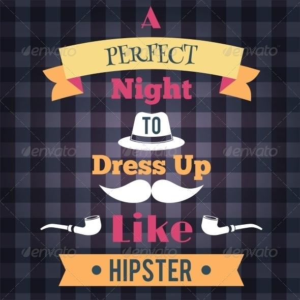 Hipster Retro Poster - Decorative Symbols Decorative