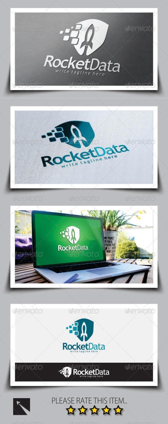 Rocket Data Shield Logo Template - Objects Logo Templates