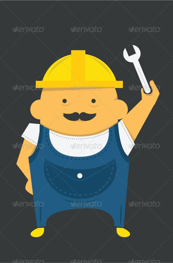 Engineer with Instrument in Construction Helmet - People Characters