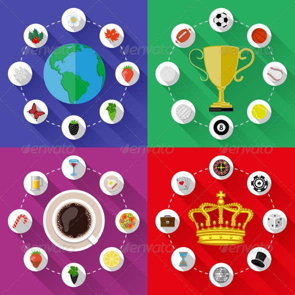 Set of Nature, Sports, Food and Drinks Concepts - Concepts Business