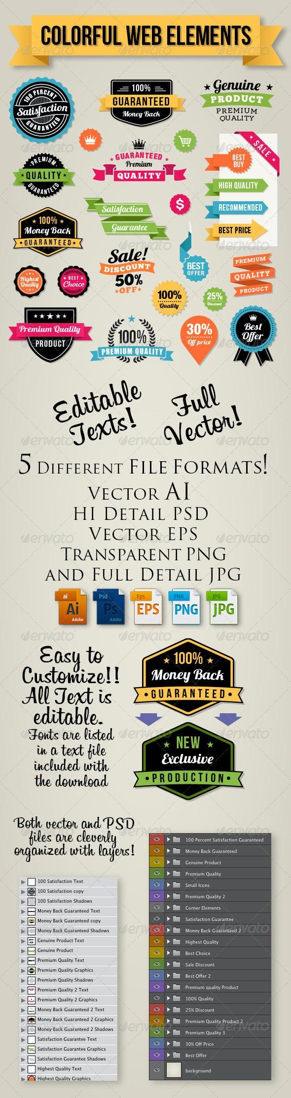Colorful Web Elements Set - Badges & Stickers Web Elements
