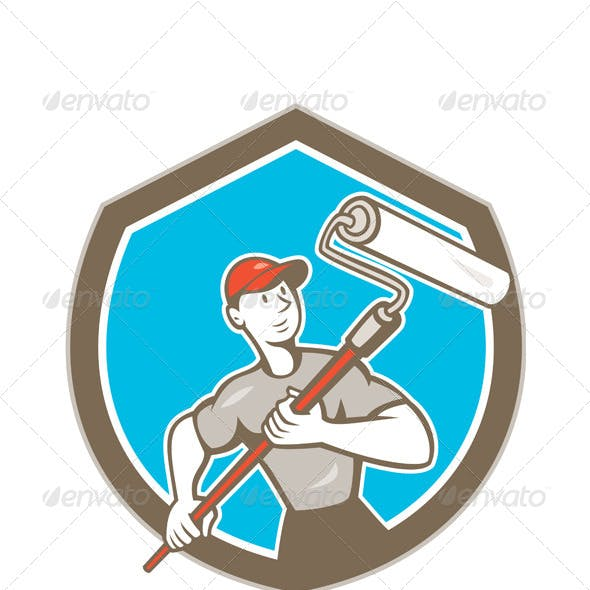House Painter Paint Roller Shield Cartoon