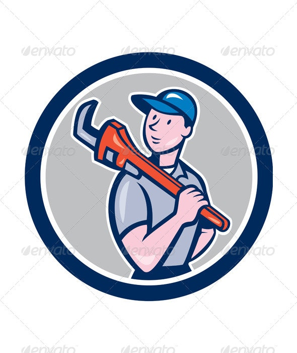 Plumber Holding Monkey Wrench Circle Cartoon - People Characters