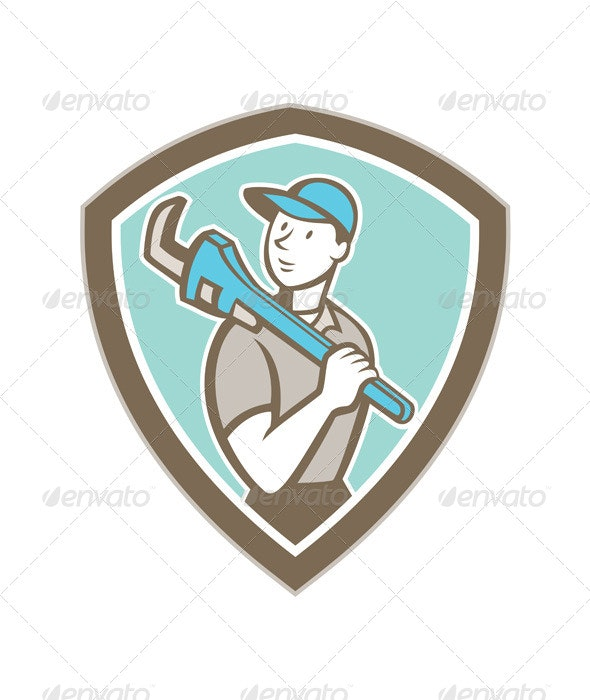 Plumber Holding Monkey Wrench Shield Cartoon - People Characters