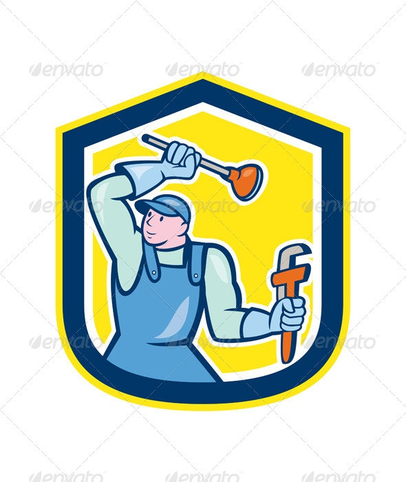 Plumber Wielding Plunger Wrench Shield Cartoon - People Characters