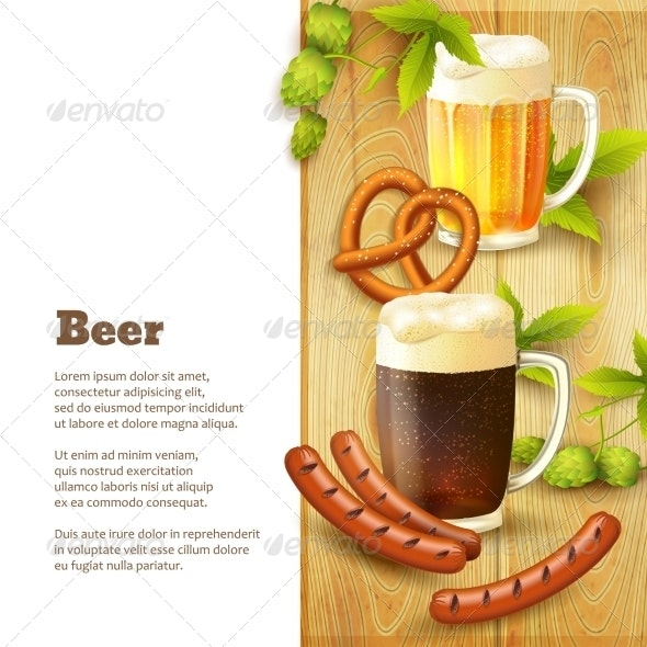 Beer and Snacks Border - Borders Decorative