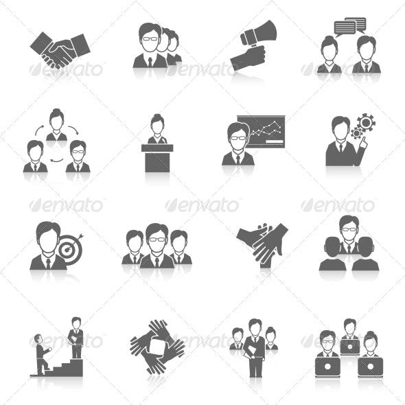Teamwork Icons Black - Web Technology