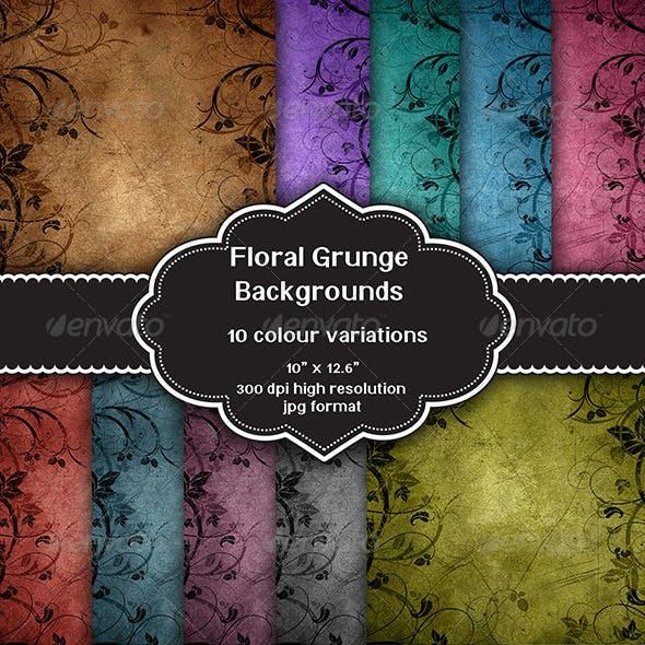 Floral Grunge Background Set