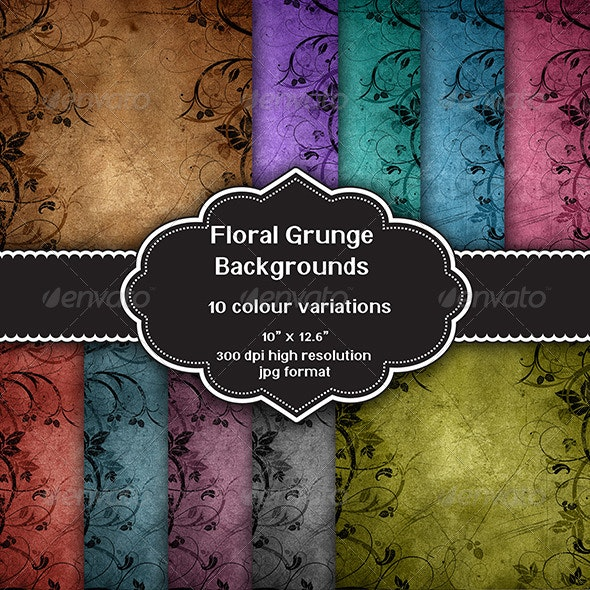 Floral Grunge Background Set - Backgrounds Graphics