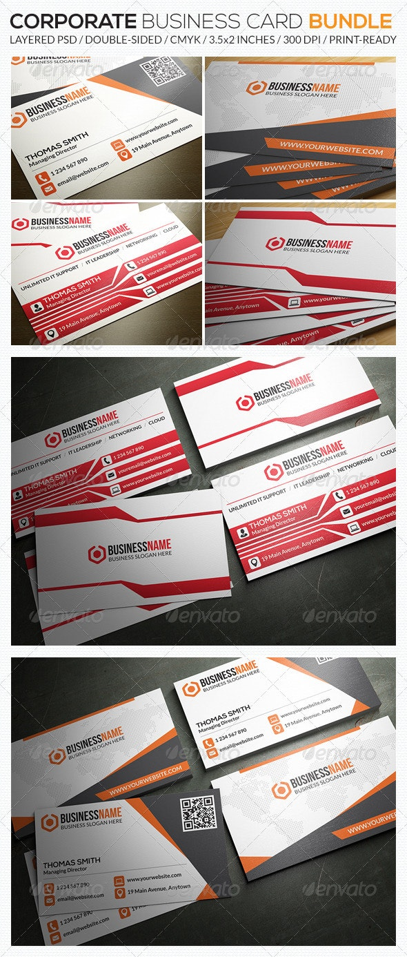 Corporate Business Card Bundle 02 - Corporate Business Cards