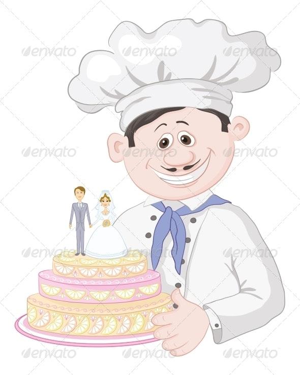 Cartoon Cook with Wedding Cake - Weddings Seasons/Holidays