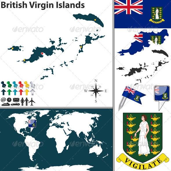 Map of British Virgin Islands - Travel Conceptual