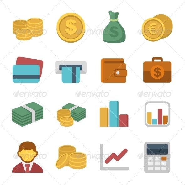Money Color Icon Set - Business Icons