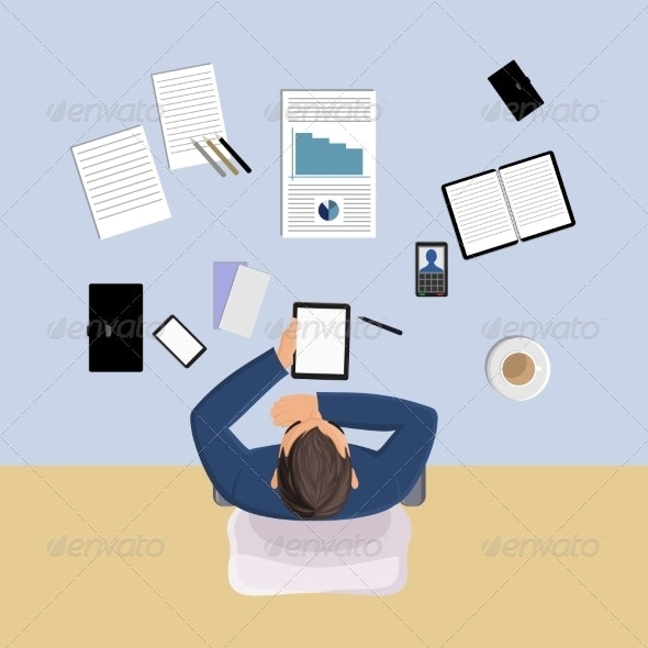 Office Worker Top View - Concepts Business