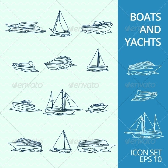 Boats Icons Set - Web Technology