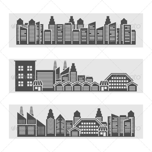 Cityscape Icons Banner - Buildings Objects