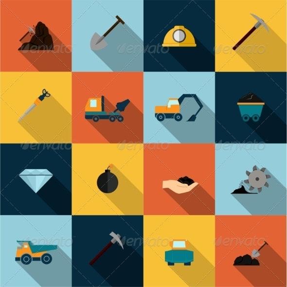 Mining Icons Set Flat - Business Icons