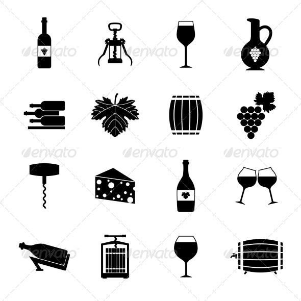 Wine icons set black - Web Technology