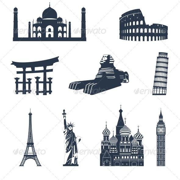 World Famous Landmarks Black