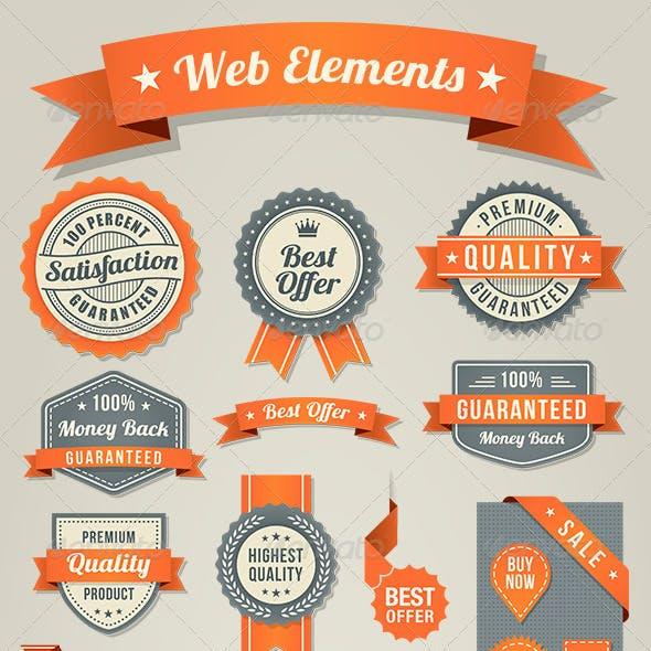 Orange-Black Web Elements Set