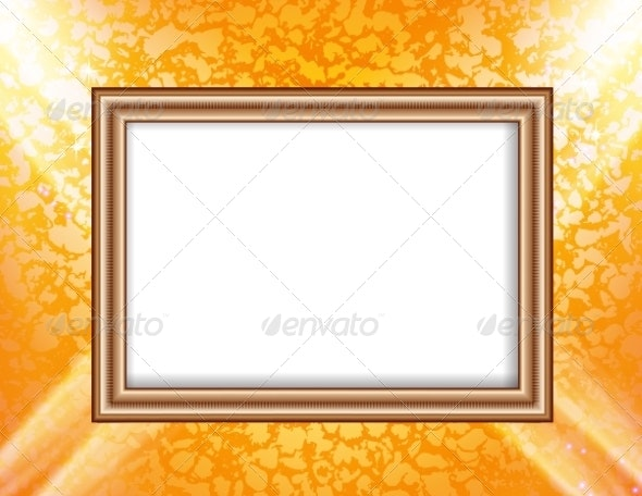 Blank Frame on a Colored Wall Lighting Spotlights - Backgrounds Decorative