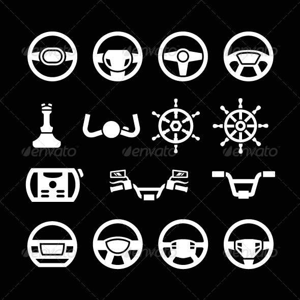 Set Icons of Steering Wheel, Marine Steering