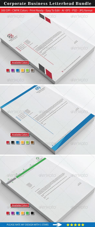 Clean Stylish Business Letterhead Bundle - Stationery Print Templates
