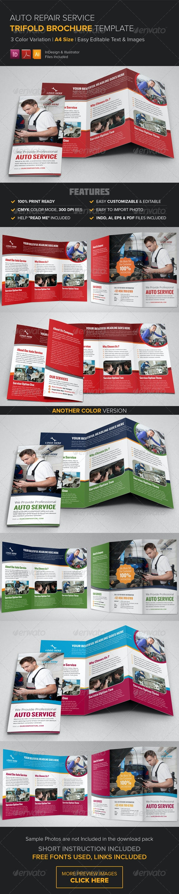 Auto Repair Service Trifold Brochure Template  - Corporate Brochures