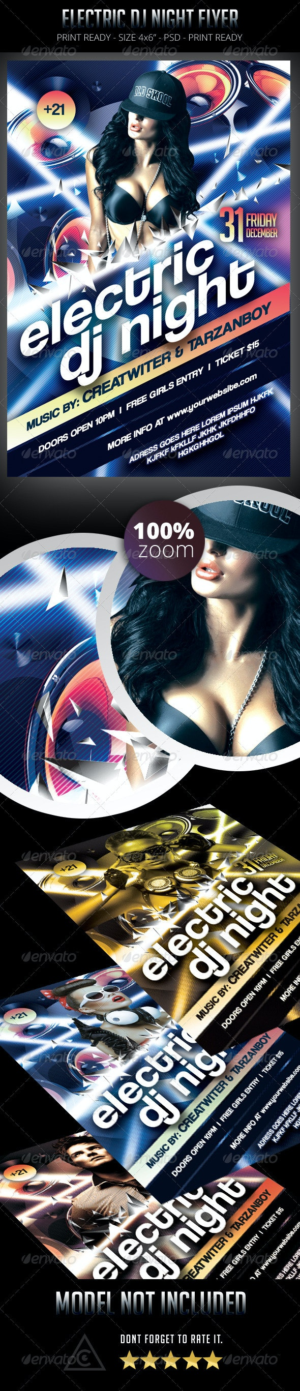 Electric Dj Night Flyer - Clubs & Parties Events