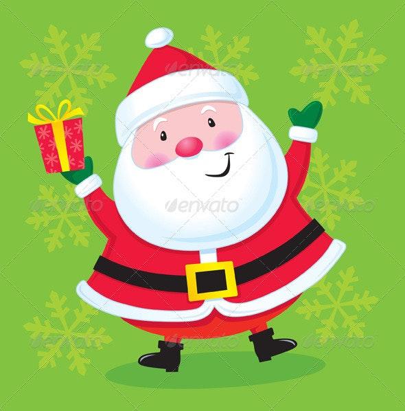 Happy Santa with a Present - Christmas Seasons/Holidays