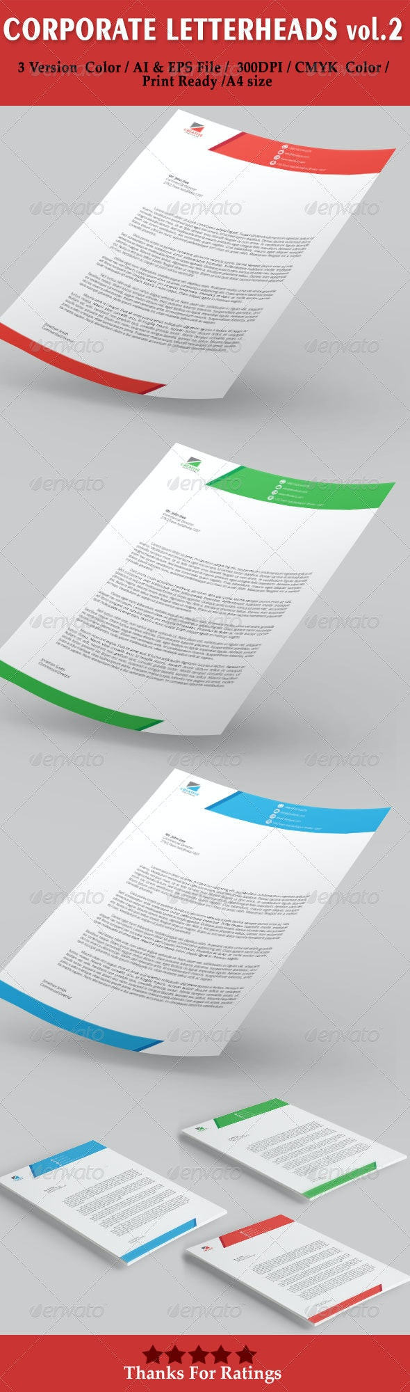 Corporate Letterheads vol.2 - Stationery Print Templates