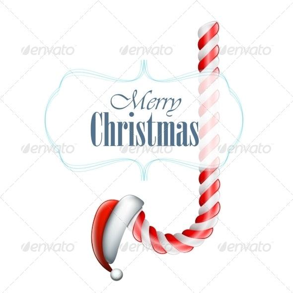 Christmas Candy with Santa Hat - Christmas Seasons/Holidays