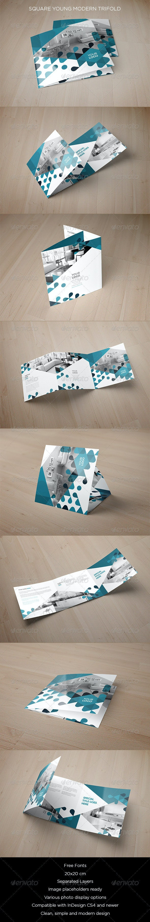 Square Young Modern Trifold - Brochures Print Templates