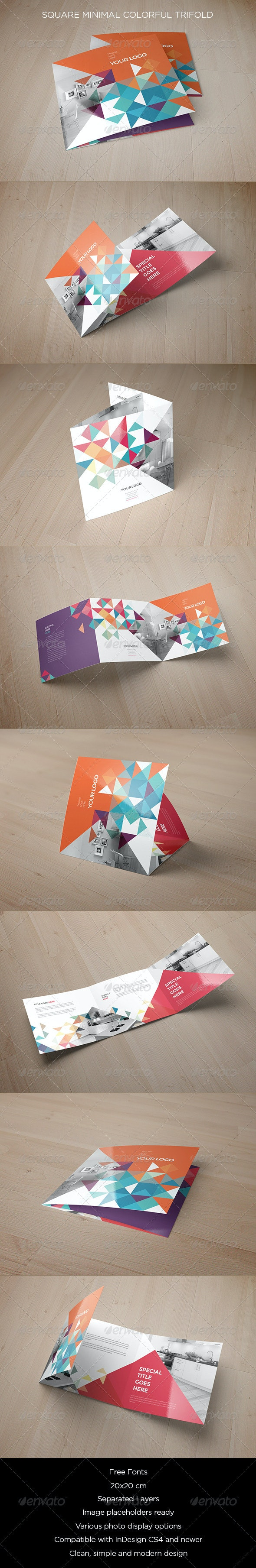 Square Minimal Colorful Trifold - Brochures Print Templates