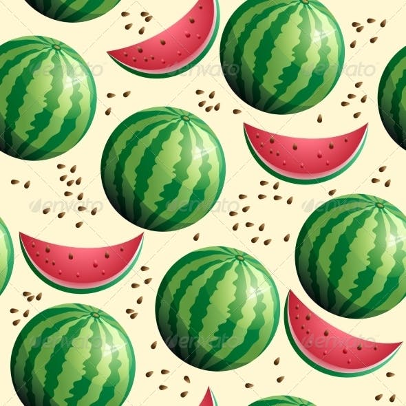 Bright Seamless Wallpaper with Watermelon