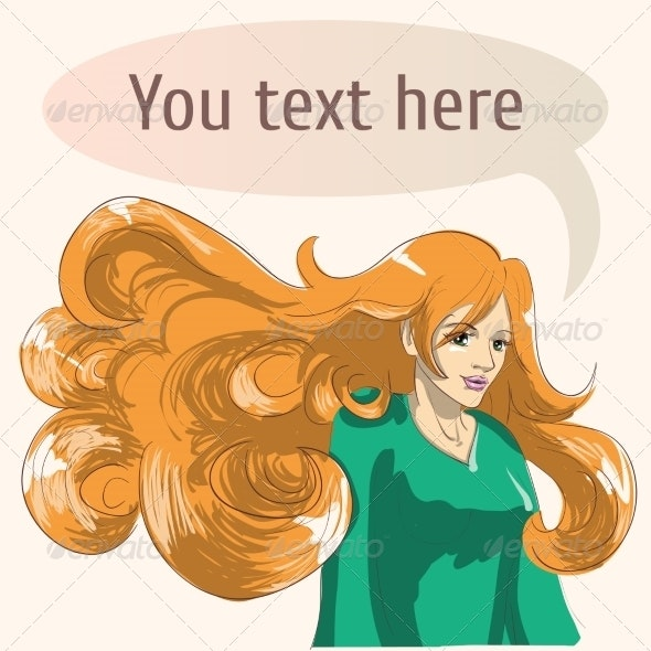 Red Hair Girl with Speech Bubble - People Characters